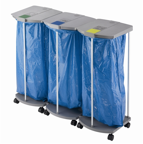 support sac poubelle hailo profiline ws 120 trio avec roulettes. Black Bedroom Furniture Sets. Home Design Ideas