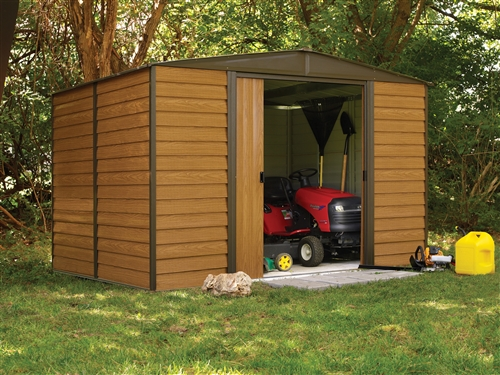 abri de jardin arrow en acier galvanis 4m2 imitation bois. Black Bedroom Furniture Sets. Home Design Ideas
