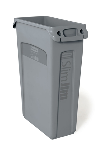 collecteur slim jim rubbermaid gris 80 litres avec conduits d 39 a ration. Black Bedroom Furniture Sets. Home Design Ideas