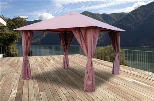 tonnelle de jardin 3x3 m avec rideaux atlas coloris lie de vin. Black Bedroom Furniture Sets. Home Design Ideas