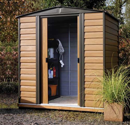 abri de jardin arrow wr65 acier galvanis 2 5 m2 imitation bois. Black Bedroom Furniture Sets. Home Design Ideas