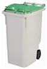 Conteneur à déchets 2 roues 340 litres couvercle vert prise frontale