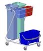 Chariot de menage lavage hospitalier méthode Imprégnation 2 flux