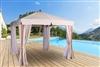 Tonnelle de jardin bois exotique Riviera 3X3 rideaux moustiquaires