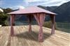 Tonnelle de jardin 3x3 m avec rideaux Atlas coloris Lie de vin