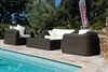 Salon de jardin resine tressee Mikonos fil rond prestige 4 places