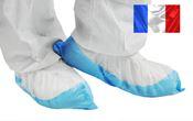 Surchaussure jetable semelle plastifiee bleue les 400