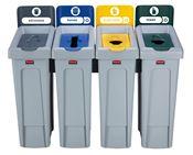 Station de recyclage Slim Jim 4 flux gris, vert, bleu et jaune