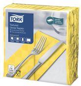 Serviette Tork dinner gauffrée jaune 38x39 pliage 1/8