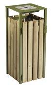 Poubelle bois exterieure avec cendrier Rossignol 110L vert olive
