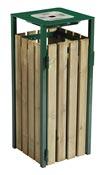 Poubelle bois exterieure avec cendrier Rossignol 110L vert mousse