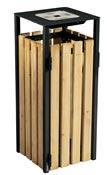 Poubelle bois exterieure avec cendrier Rossignol 110L gris manganese