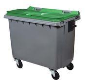 Conteneur à déchet 4 roues 660 litres vert prise frontale