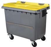 Conteneur roulant 4 roues 660 litres couvercle jaune barre ventrale