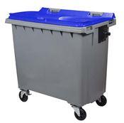 Conteneur à déchets 770 litres 4 roues CV bleu prise frontale