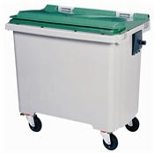 Conteneur à déchets 770 litres 4 roues vert prise frontale