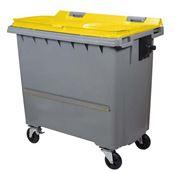 Conteneur à déchets 770 litres 4 roues CV jaune barre ventrale
