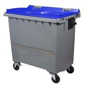 Conteneur à déchets 770 litres 4 roues CV bleu barre ventrale