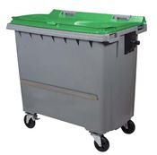 Conteneur à déchets 770 litres 4 roues vert barre ventrale