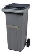 Conteneur à déchets 2 roues 120 litres gris ventrale