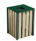Poubelle exterieure bois Rossignol 50L vert mousse