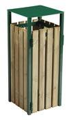 Poubelle exterieure bois Rossignol 110L vert mousse