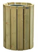 Poubelle bois exterieur Rossignol 20 L ronde murale