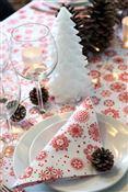 Serviette Noël non tissé cristaux blanc et rouge 40 x 40 cm