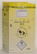 Caisse DASRI dechets infectieux 50 L NFX 30507 basse paquet de 10