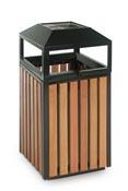 Poubelle extérieure bois et acier carré 90 litres avec serrure