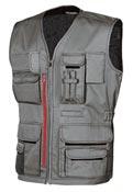 Manteau de travail sans manche multipoches gris