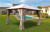 Tonnelle de jardin 3x3 m avec rideaux Atlas coloris taupe