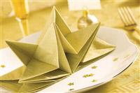 Acheter Serviette papier prepliee pliage Or Noel et reveillon pochette de 12