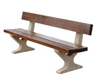 Acheter Banc concorde extérieur en bois et béton lisse ocre