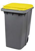 Acheter Conteneur à déchets 2 roues 340 litres couvercle jaune prise frontale