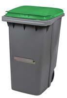 Acheter Conteneur à déchets 2 roues 340 litres couvercle vert barre ventrale