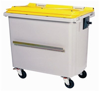 Acheter Conteneur roulant 4 roues 660 litres couvercle jaune barre ventrale