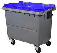 Acheter Conteneur roulant 4 roues 660 litres couvercle bleu barre ventrale