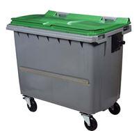 Acheter Conteneur roulant 4 roues 660 litres couvercle vert barre ventrale