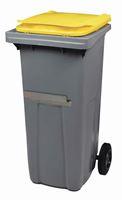 Acheter Conteneur à déchets 2 roues 120 litres couvercle jaune barre ventrale