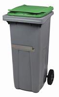 Acheter Conteneur à déchets 2 roues 120 litres couvercle vert barre ventrale