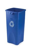 Acheter Conteneur Rubbermaid tri selectif carré bleu logo recyclage 87 L