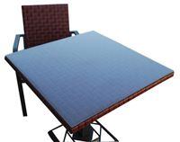 Acheter Table bistrot carree aluminium resine tressee bordeaux Kaiman 80x80