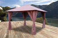 Acheter Tonnelle de jardin 3x3 m avec rideaux Atlas coloris Lie de vin