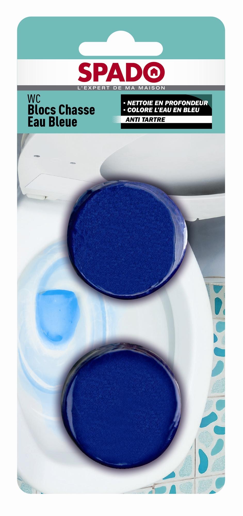 spado bloc chasse d 39 eau wc bleu etui de 2. Black Bedroom Furniture Sets. Home Design Ideas