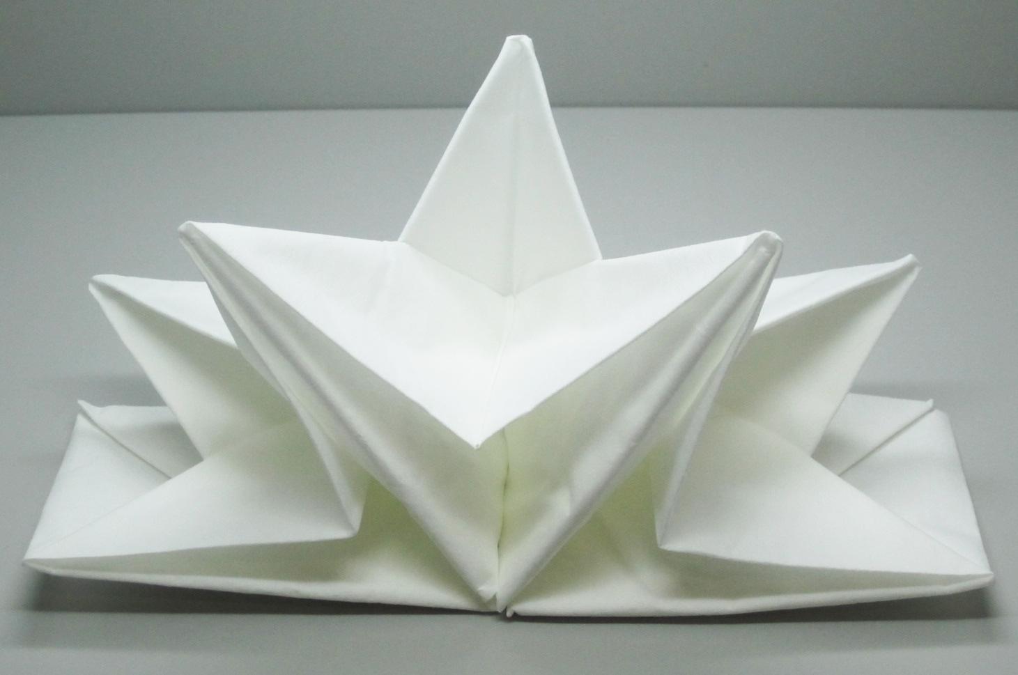 serviette papier prepliee pliage etoile blanche etui de 12. Black Bedroom Furniture Sets. Home Design Ideas