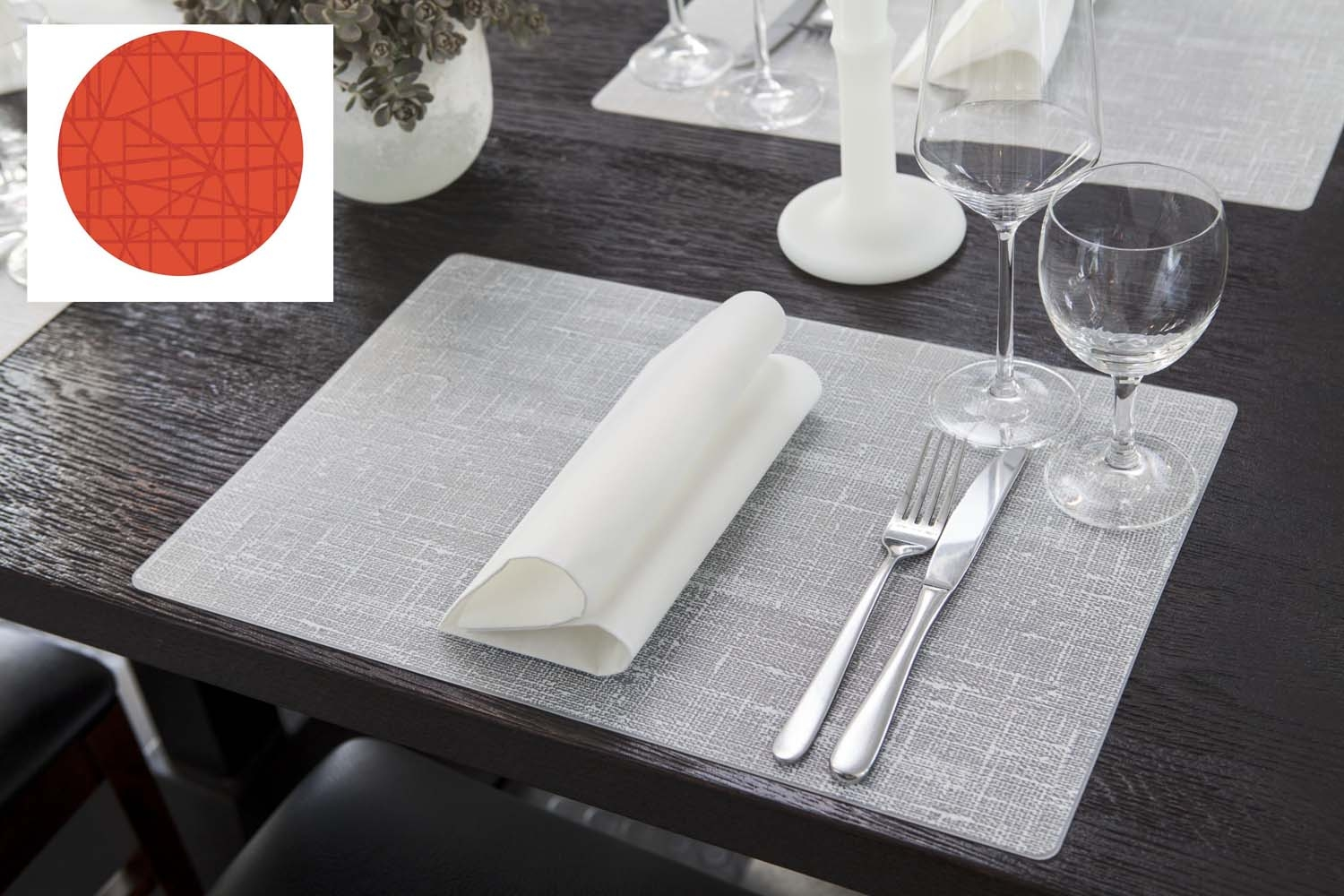 Set de table silicone mandarine 30 x 45 cm duni paquet de 6 - Set de table intisse ...