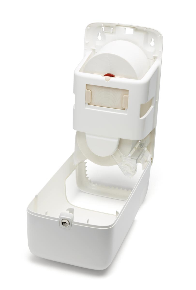 Distributeur papier toilette tork elevation t6 blanc - Distributeur papier toilette design ...