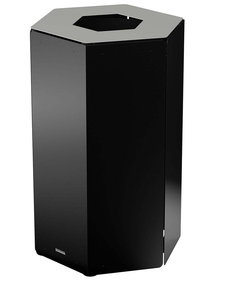 poubelle tri selectif rossignol 50 l gris metal. Black Bedroom Furniture Sets. Home Design Ideas