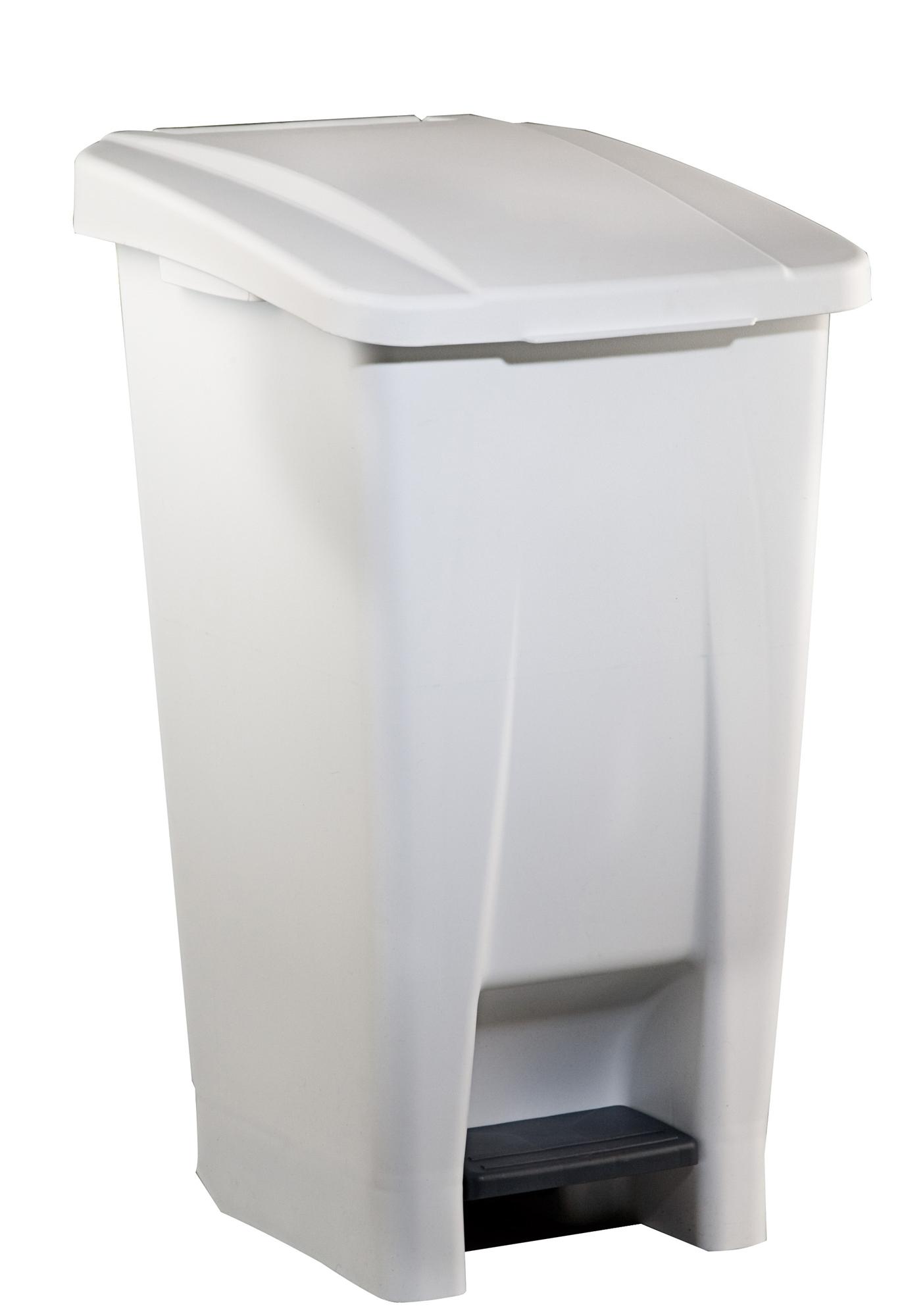 Poubelle de cuisine rossignol 60 litres haccp couvercle blanc - Couvercle de poubelle automatique ...